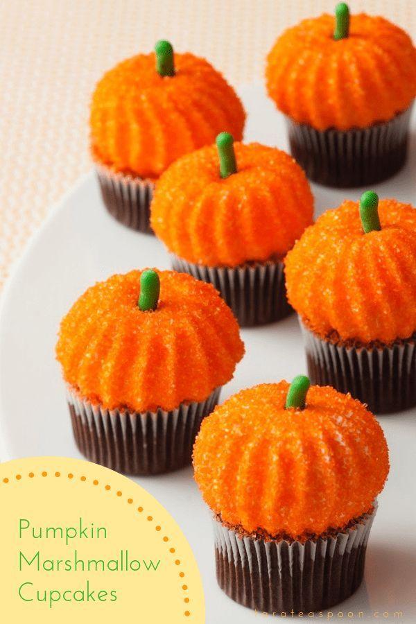 Pumpkin Marshmallows on Cupcakes #marshmallows