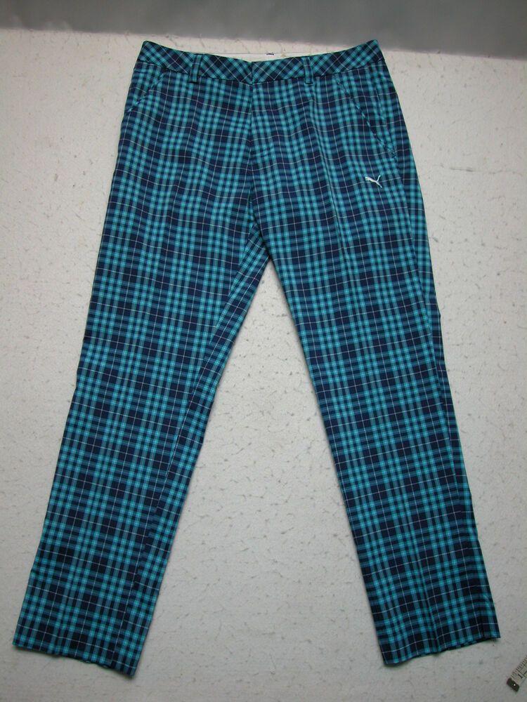 a3eb86d39790 PUMA CELL Golf Pants Mens 34X32 Blue Plaid Split Cuffs (Measure 36x31)  EUC!!  PUMA