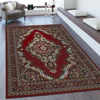 Klassicher Orientteppich mit Ornamenten in Beige und Rot #rot #beige