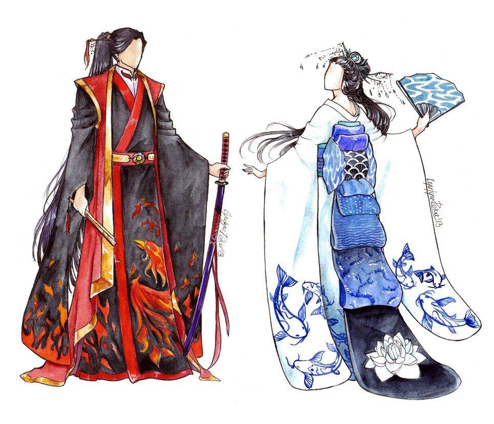 Kimono Designs by 9DenkO6. Reminds me of Zutara! Anime