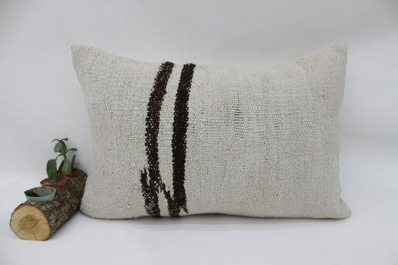 Corner Pillow, 16x24 Turkey Kilim Pillow,Neck Pillow,Throw Pillow,Hemp Pillow Cover,White Pillow,Dec