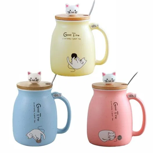 Cat Heatresistant with Cover & Spoon Mug in 2020 Mugs