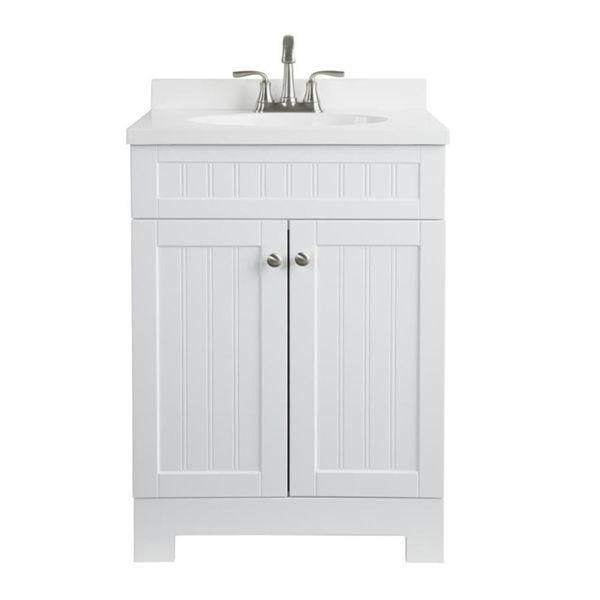 Shop Style Selections Ellenbee 25 In White Bathroom Vanity With Cultured Marble Top At Bathroom Sink Vanity White Vanity Bathroom Single Sink Bathroom Vanity