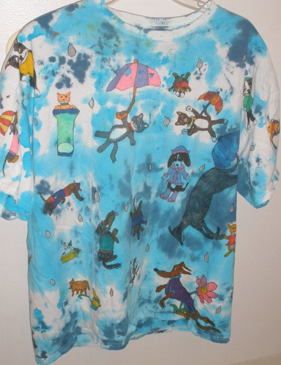 Raining Cats And Dogs Tie Dye T Shirt XL Adult by SassySashadoxie, $20.50