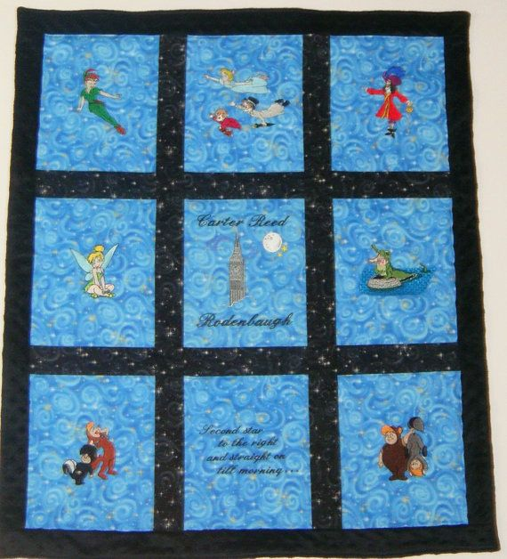 Embroidered Peter Pan Quilt / Blanket by NEFSewSuite on Etsy Peter ... : embroidered quilts for sale - Adamdwight.com