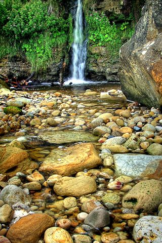 Rocky Waterfall Waterfall Hd Wallpaper Android Android Wallpaper