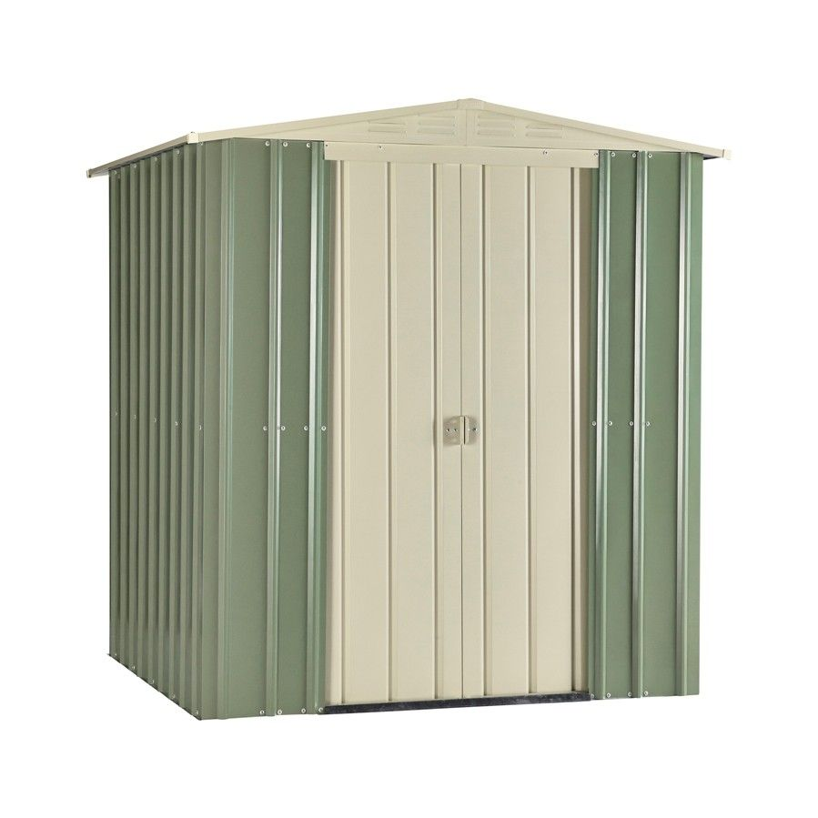 lotus 6x5 metal shed mist green cream - Garden Sheds 6 X 5