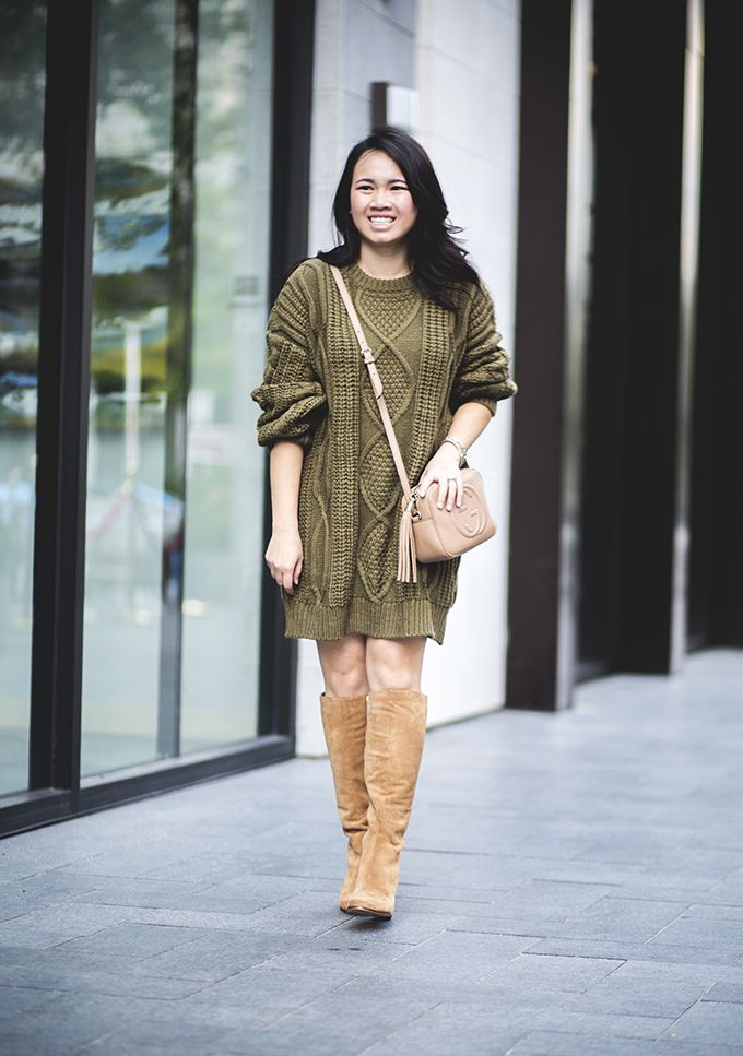 8774e4e37ea Olive sweater dress and knee high boots