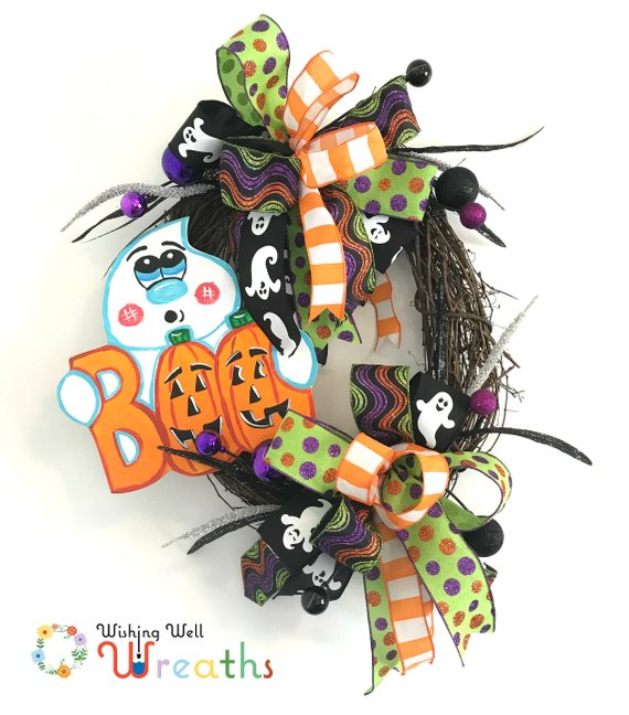Halloween Ghost Grapevine Wreath, Ghost Wreath, Cute Halloween Decor