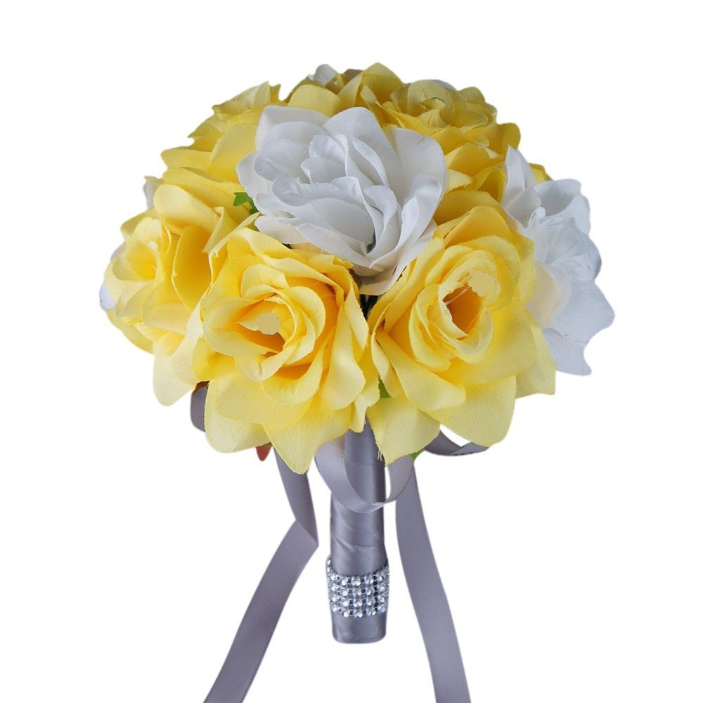 """Yellow And Grey Wedding Flowers: 8"""" Bouquet-Yellow White Gray"""