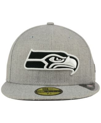 New Era Seattle Seahawks Heather Black White 59FIFTY Fitted Cap - Gray 7 1 2 a5d01ee3a