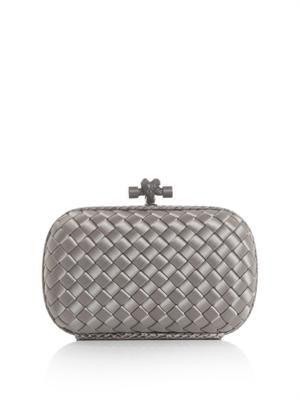 Bottega Veneta Satin Knot Clutch - Silver Grey  09f6af582f9d4