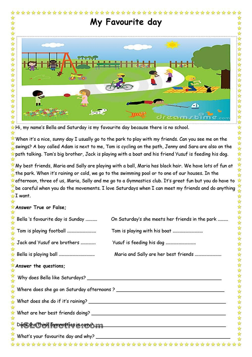 My Favourite Day Teach Reading Comprehension Worksheets English Reading Comprehension Worksheets Comprehension Worksheets Reading Comprehension [ 1440 x 1018 Pixel ]