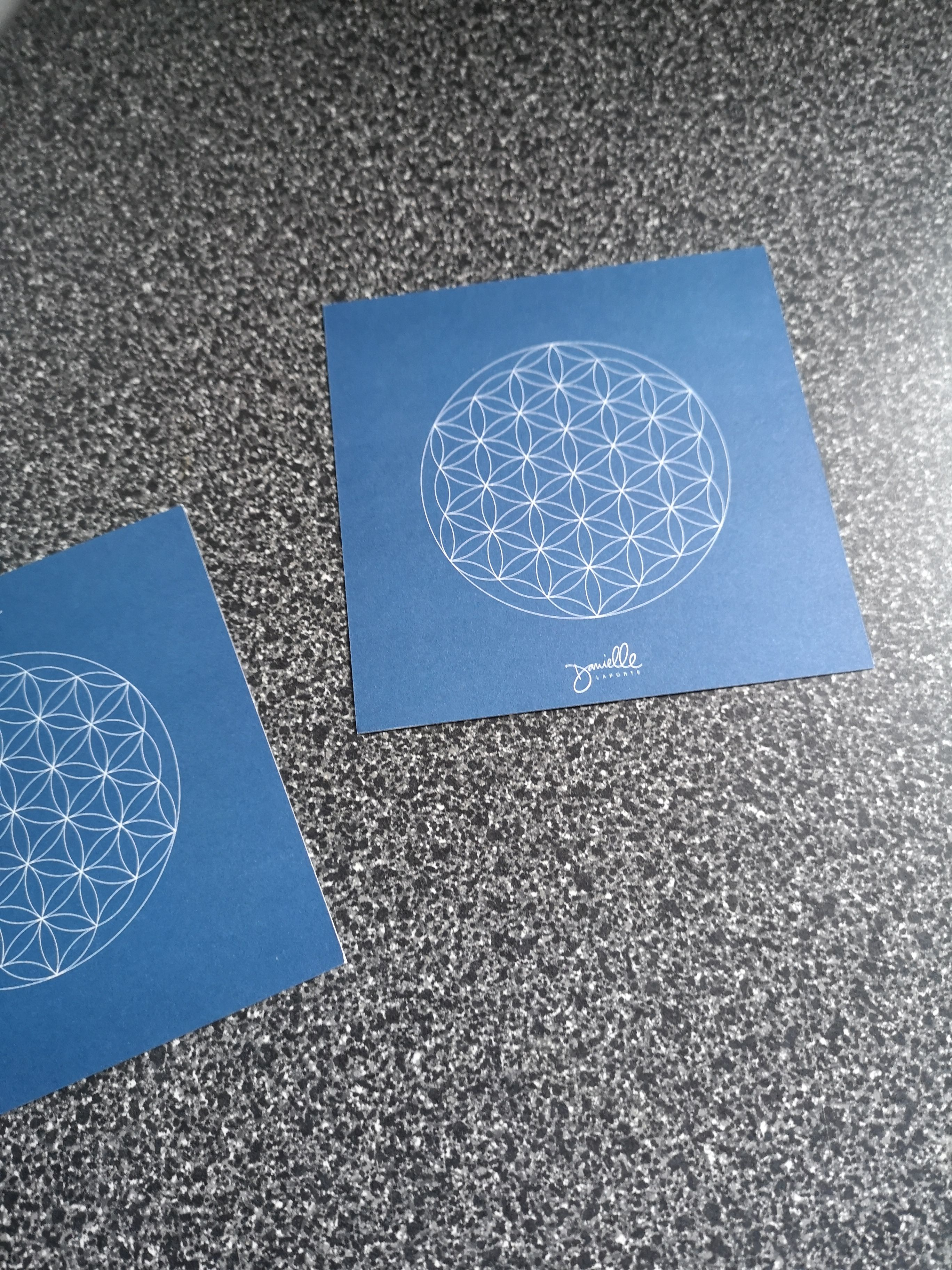 Cards in gift registration package for #VYC2020.  Intend to place under plants and/or infusions to soak up #sacredgeometry #floweroflife.  Victoria Yoga conference @ UVic this weekend.  Includes Mindful Labyrinth Pathway!