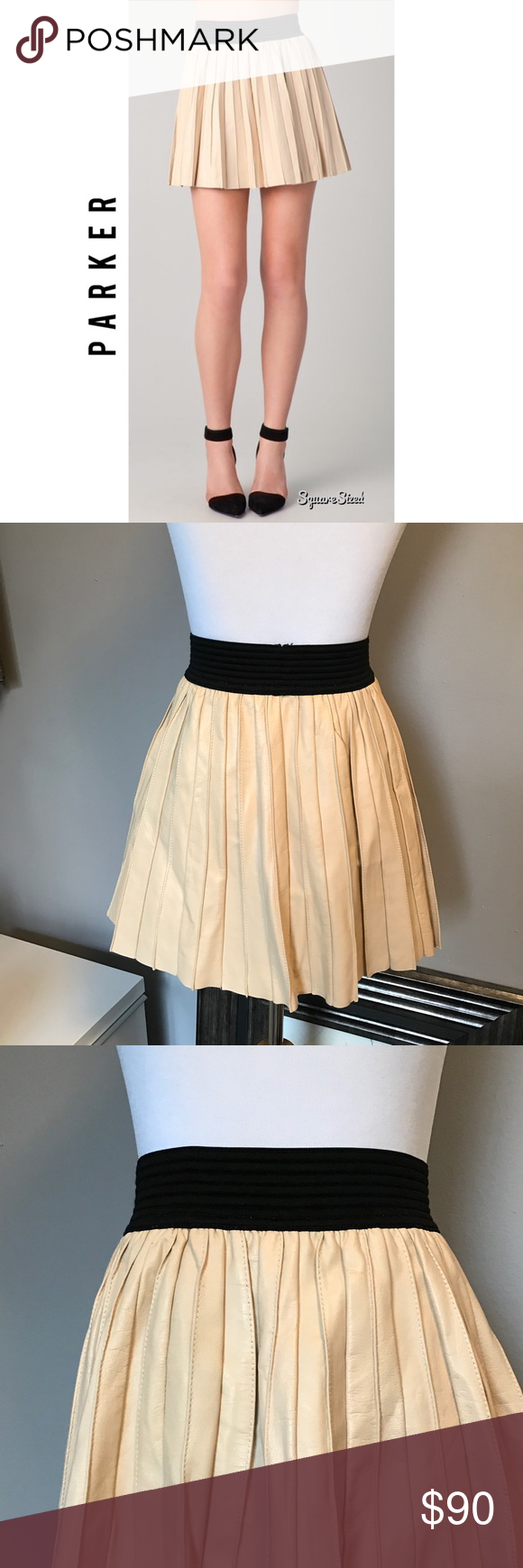 595c483a10 PARKER - Cream Pleated Genuine Leather Mini Skirt In very good condition.  Size M.