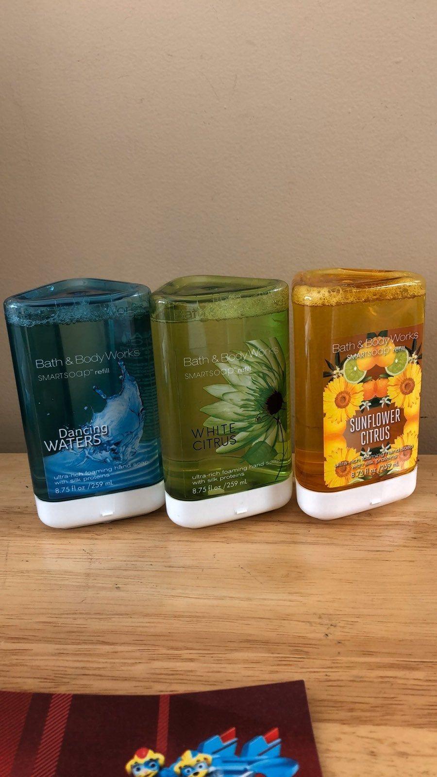 Nwt Bath Body Works Smart Soap Refills 3 Count Sunflower Citrus White Citrus Dancing Waters Bath And Body Works Bath And Body Body Works