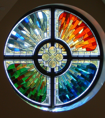 Stained Glass circle, seasons, for the kitchen west wall