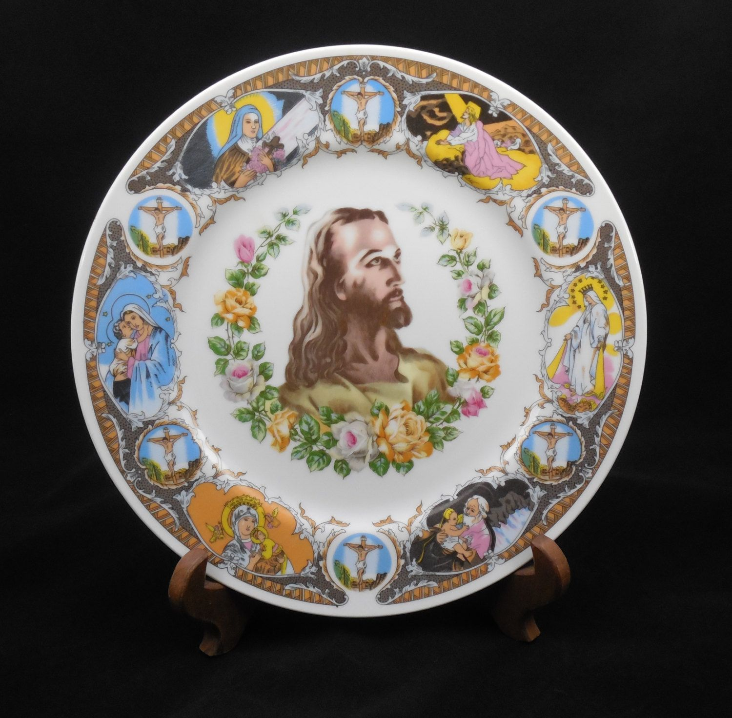 Ceramic Jesus Plate Vintage Christian or Religious Collector Plate Life of Jesus Plate Display of Jesus Plate Stand not Included by ShellyisVintage on ... & Ceramic Jesus Plate 10