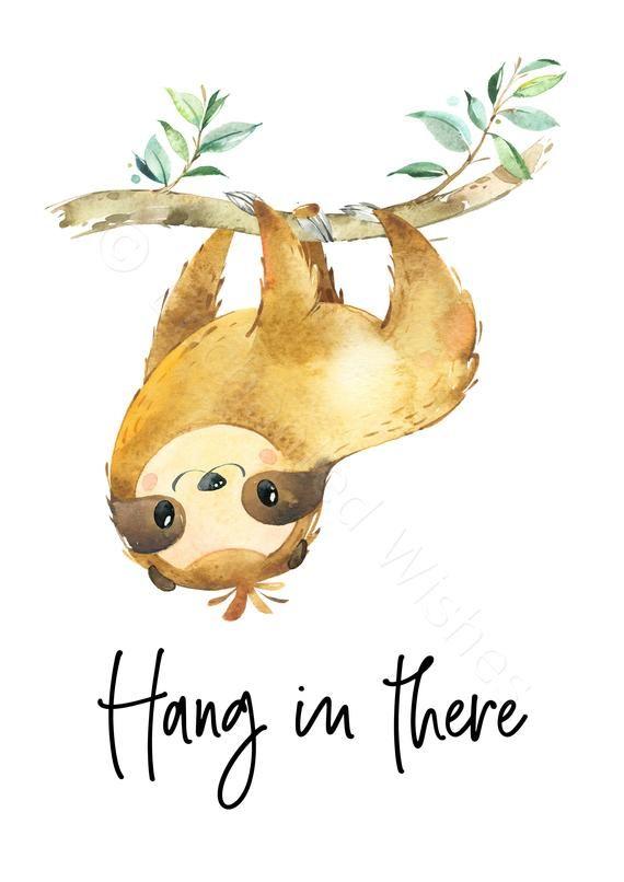 Sloth Prints Set of 3 PRINTABLE, Sloth Print, Sloth Quote Prints, Cute Sloth Wall Art, Hang in There Sloth Print, Sloth Gift, Inspirational