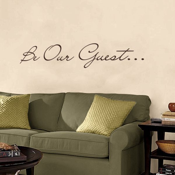 Welcome your friends and relatives to your home with this simple and elegant be our guest wall decal find this and more wall words decals at dali decals