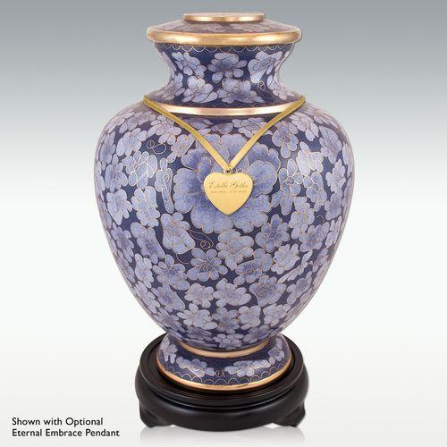 Decorative Cremation Urns Interesting Purple Flowers Cloisonne Cremation Urn  Wood Base  Urn Inspiration Design
