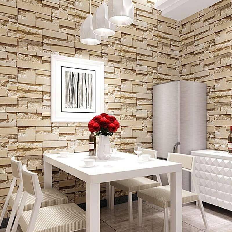 Wallpaper, Luxury Mural Wallpaper Stone Brick Wall Faux