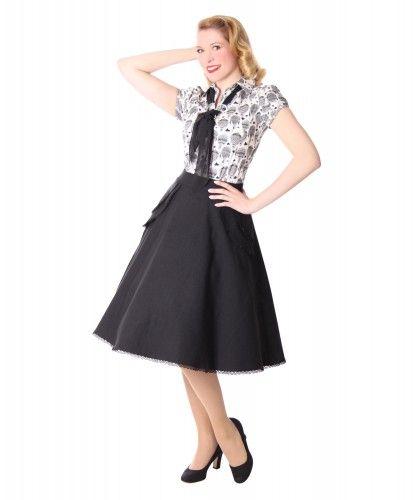 cad30dcc283273 Montra Pin Up Schößchen Tellerrock Petticoat Rock Peplum Swing Skirt v.  SugarShock – Bild 1