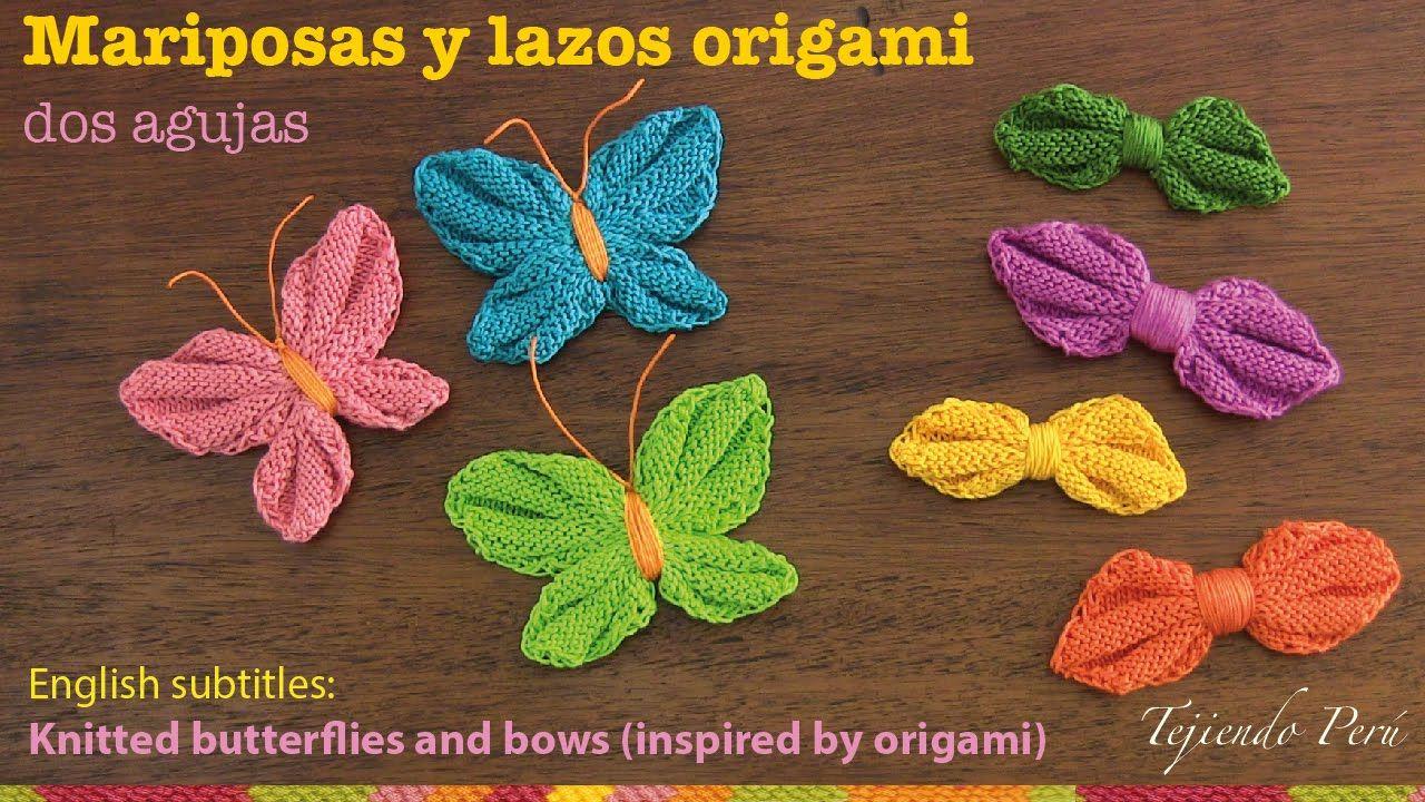 Mini tutorial # 13: mariposas y lazos origami tejidos en 2 agujas ...