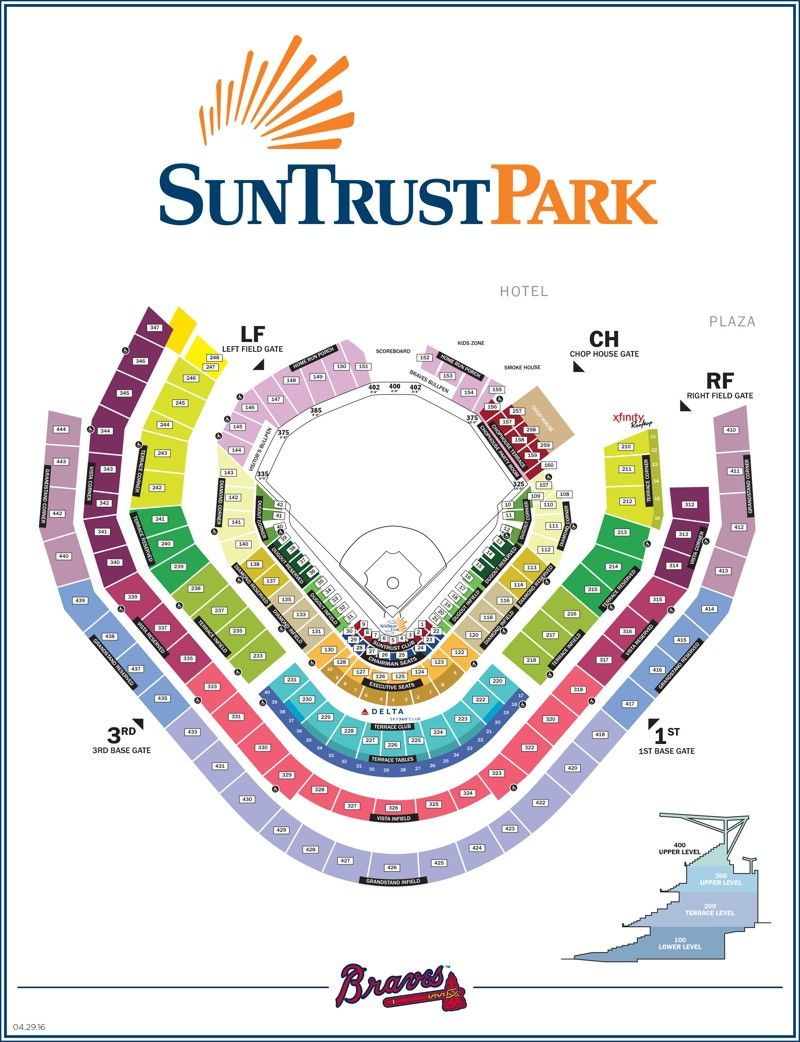Map Of SunTrust Park Seating Chart And Gate Entrances The New Atlanta Braves Stadium In