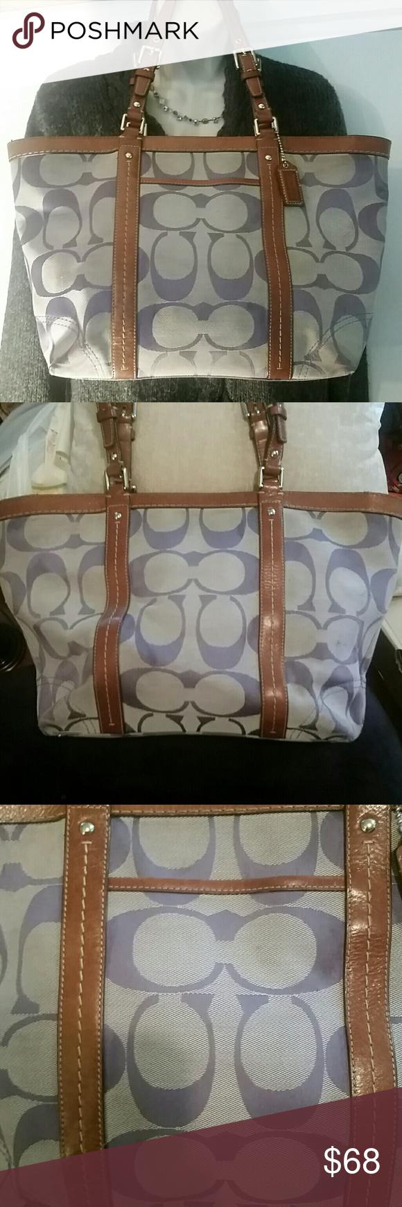 Coach tan u lilac tote in my posh closet designer handbags