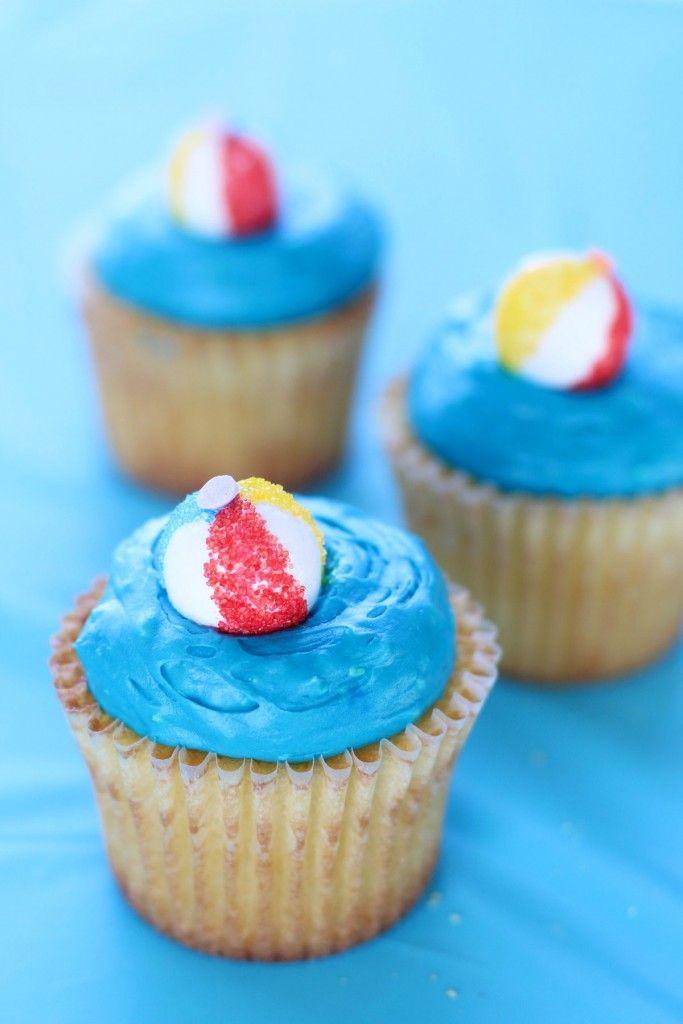 Diy Beach Ball Cupcake Toppers Beach Ball Cupcakes Pina Colada
