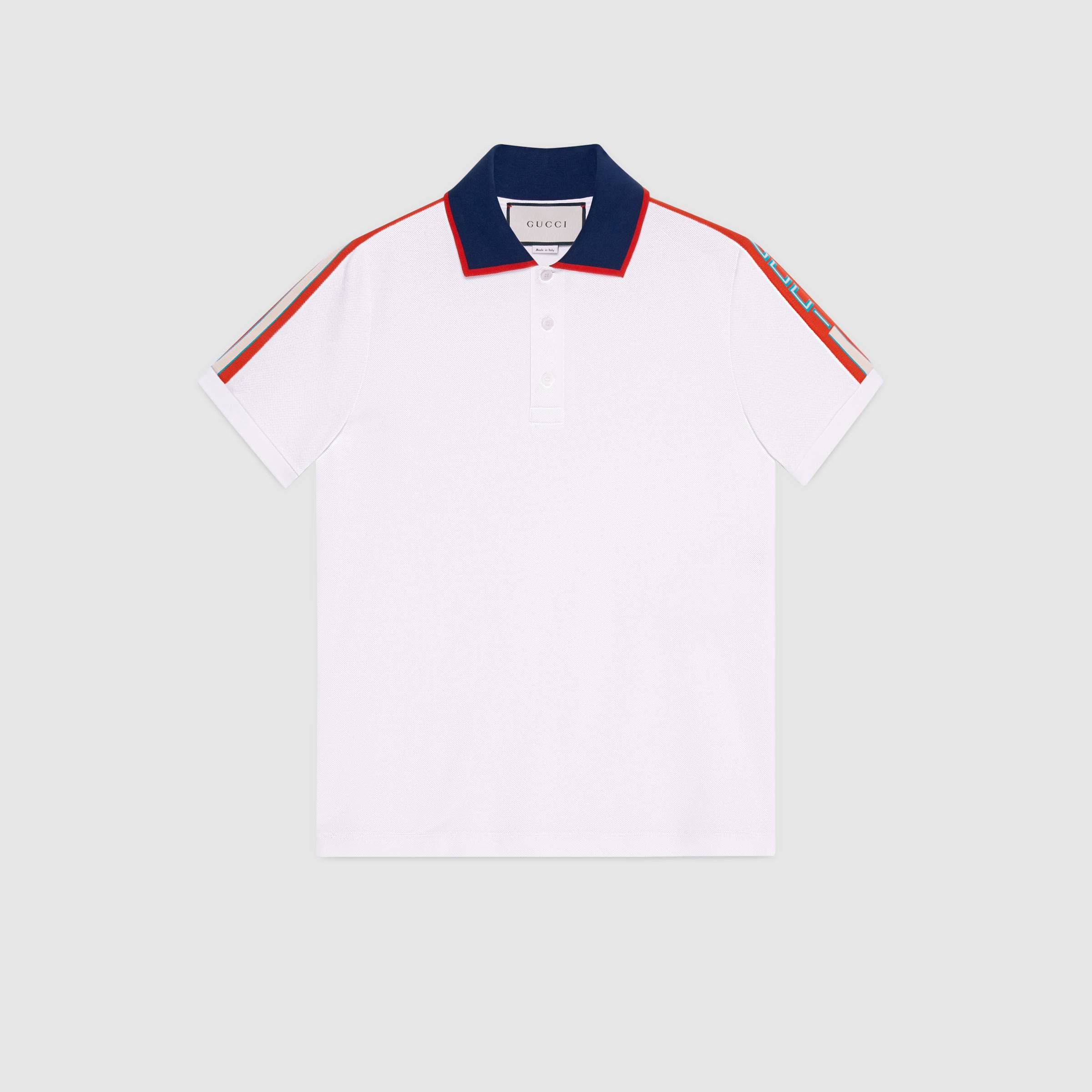 001a8724 Cotton polo with Gucci stripe - Gucci Men's T-shirts & Polos 500972X9M389979