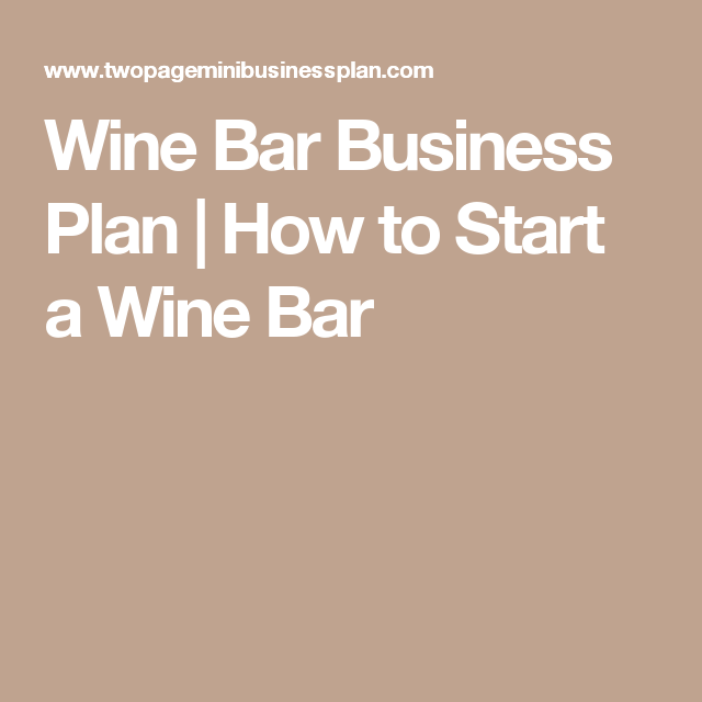 business plan for wine and beer bar
