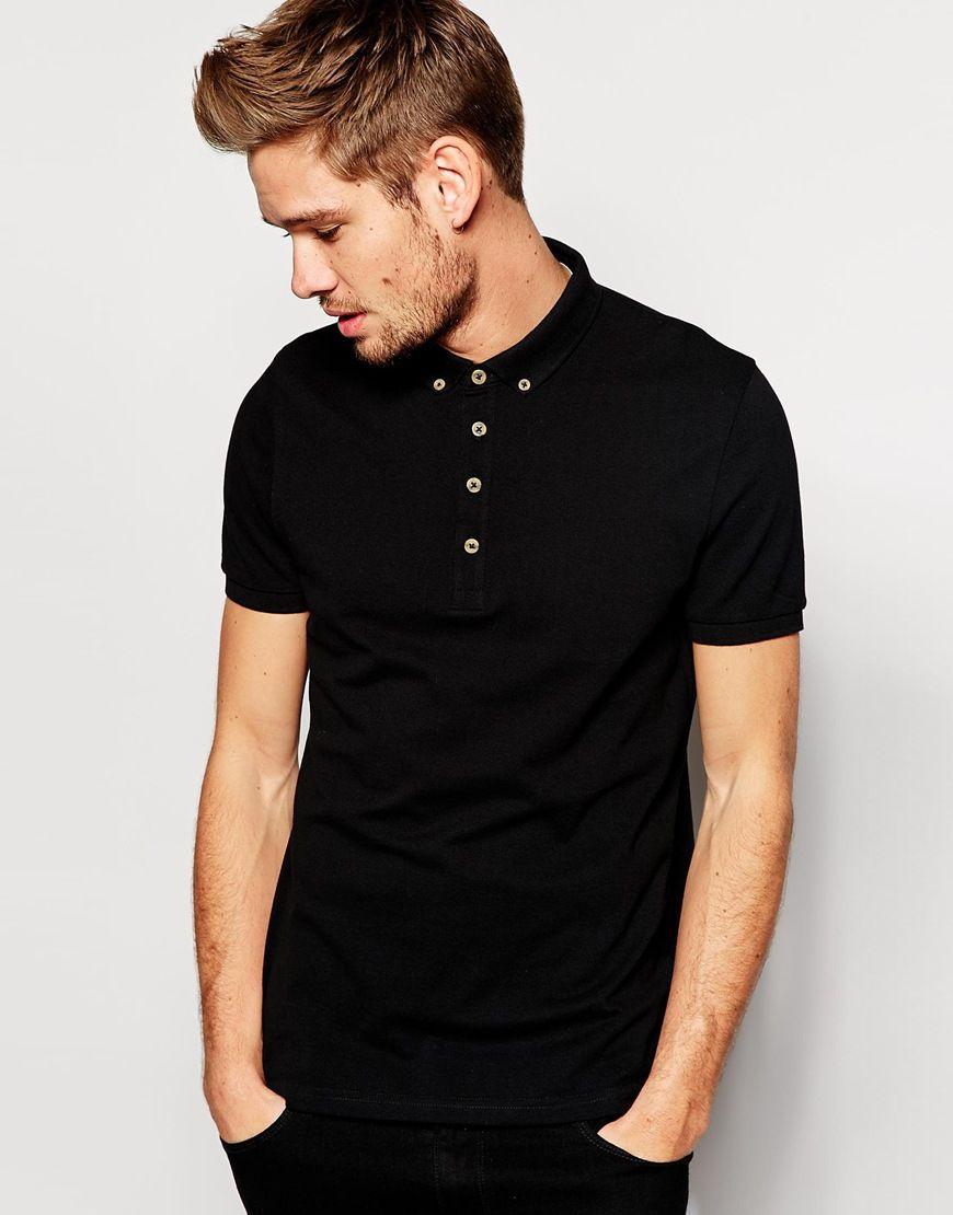 ASOS Mini Button Down Collar Pique Polo Shirt