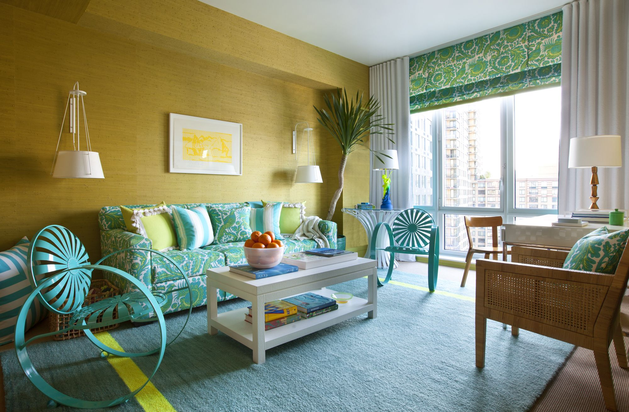 Modern Cabana Living Room Turquoise, Lime Green & Yellow (Scott