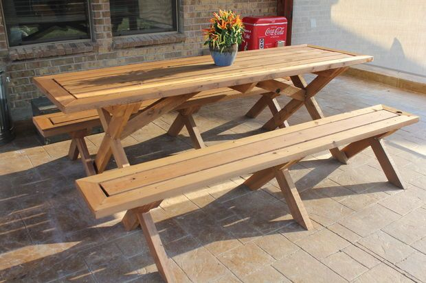Sleek Picnic Table With Detached Benches Diy Picnic Table