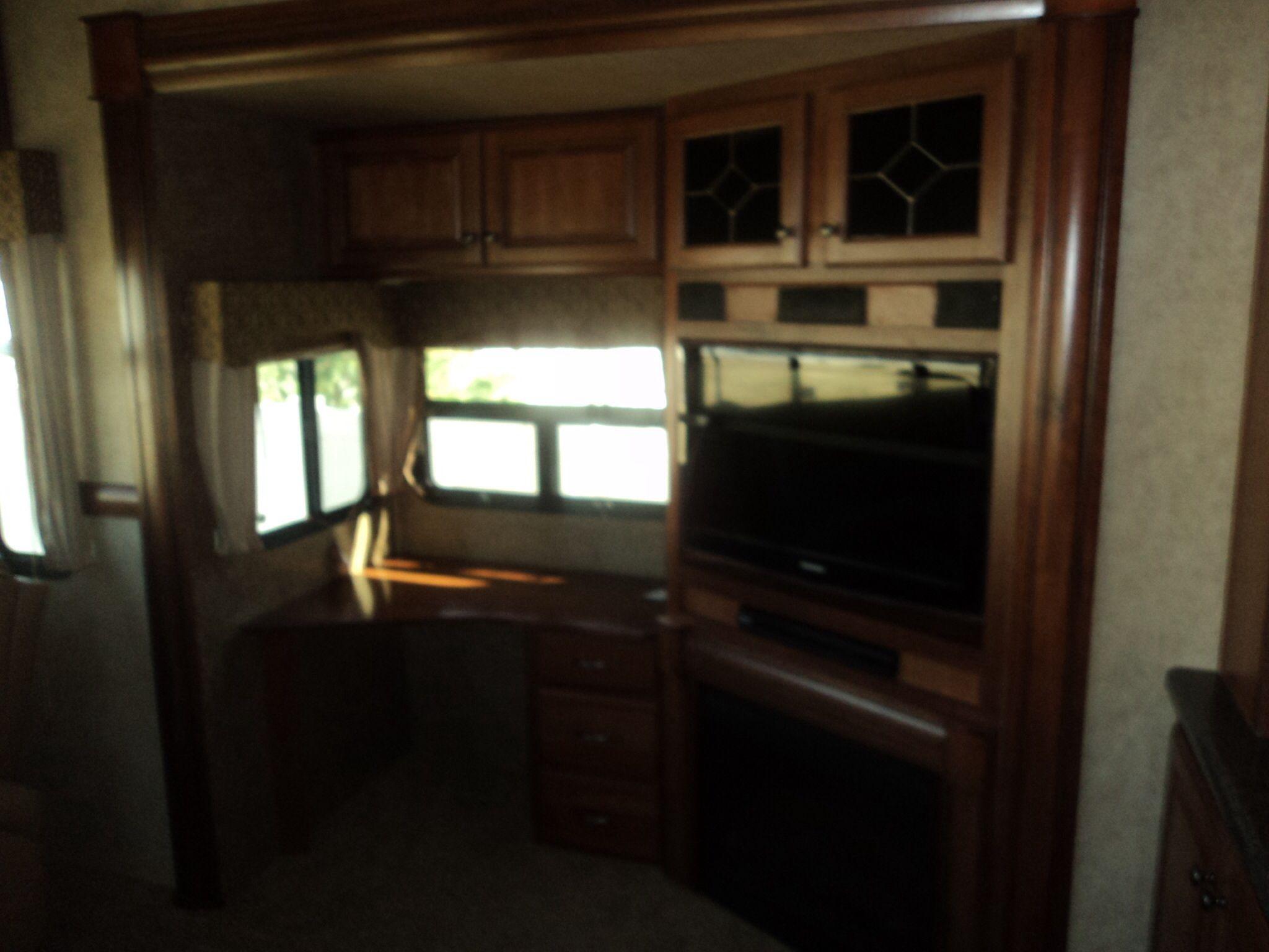 RV fireplace, tv, and desk Home decor, Home, Decor