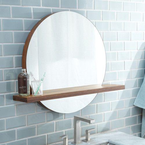 Circular Mirror With Wooden Shelf Found It At Allmodern Solace Mirror Round Mirror Bathroom Bathroom Mirror With Shelf Bathroom Mirror