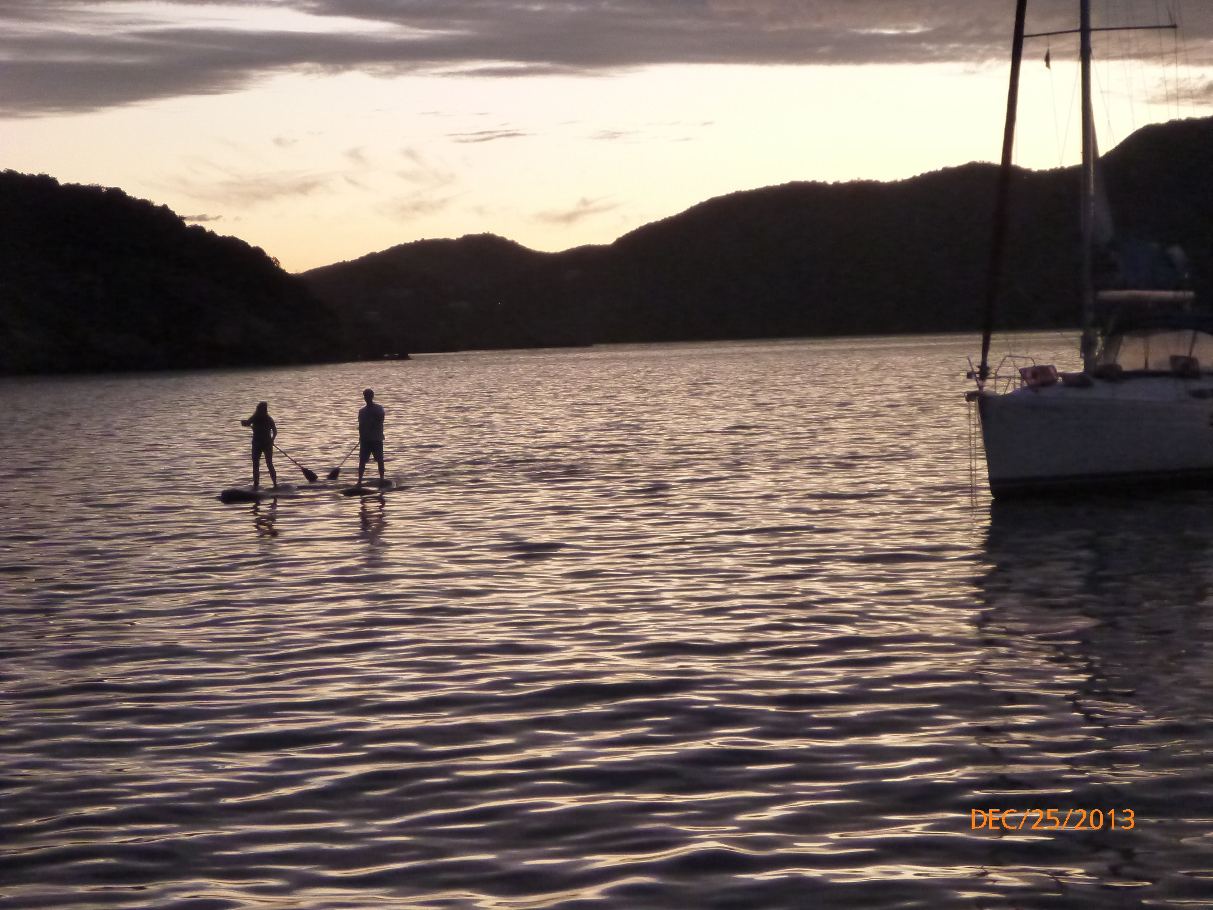 Paddle boarding at sunset...