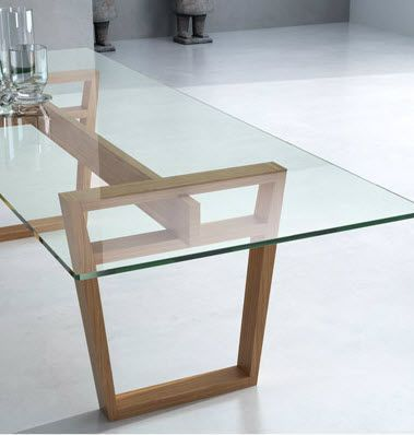 Mesa de comedor moderna / de vidrio / de interior - MARALBA ...