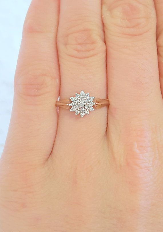 Vintage 1950s Diamond Snowflake Engagement Ring in 9ct ...