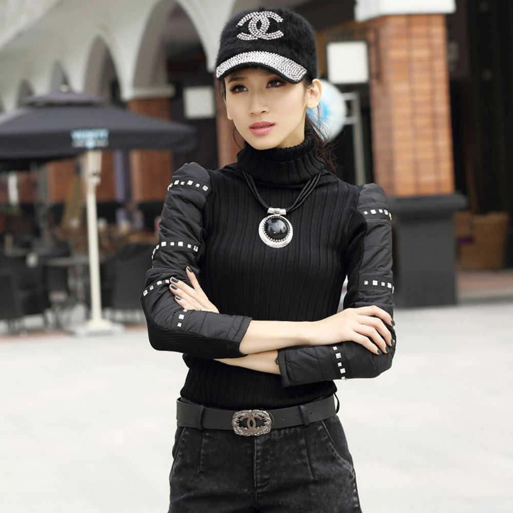 2015 female pullovers knitted Turtleneck sweater thick cotton ...