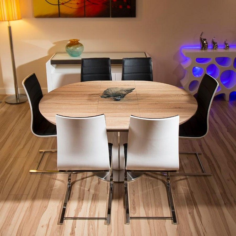 Modern Dining Set Round Oval Extending Table Plus Six Black White