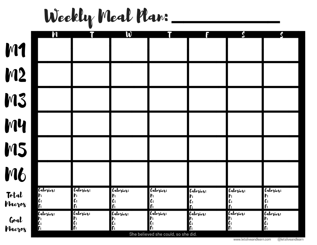 A free printable weekly macro meal plan template to use
