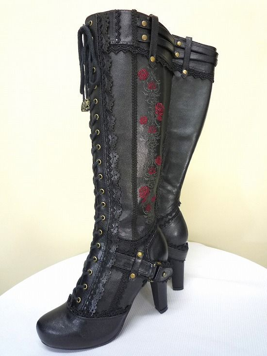 Gothic Steampunk Black Faux Leather Knee High Lace Up Riding