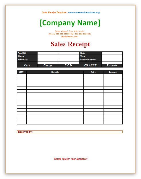 Doc573733 Sample of Sales Receipt 7 Free Sales Receipt – Receipt Forms Templates