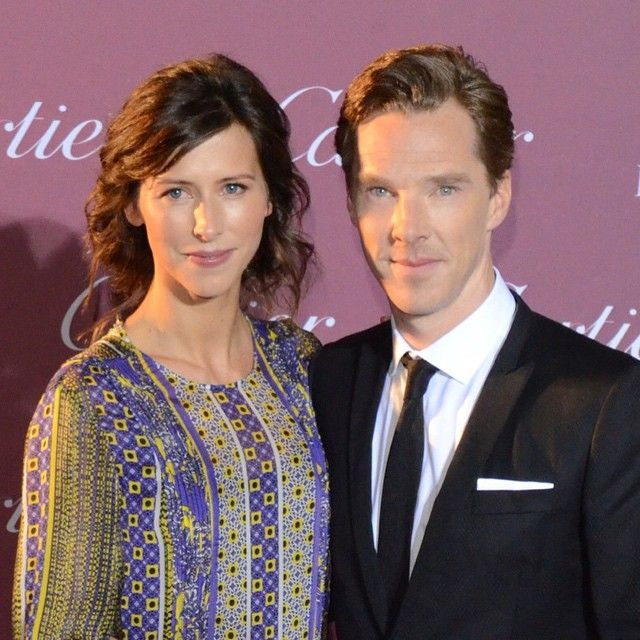 I got Benedict Cumberbatch with this wife Sophie hunter on the red carpet at the Palm Springs Film Fest!