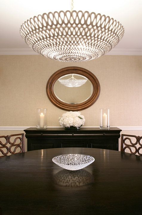Mabley Handler   Chic, Elegant Dining Room With Oly Studio Pipa Bowl  Chandelier, Sand .