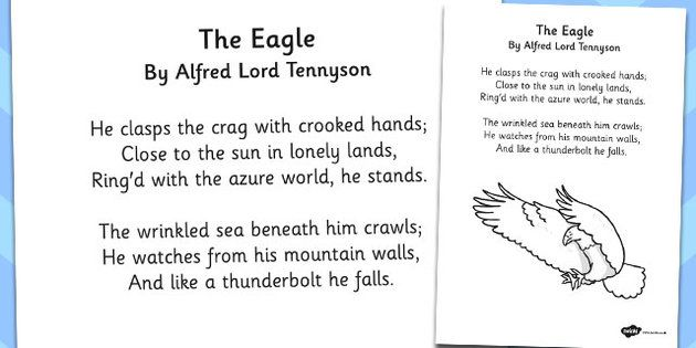 39 the eagle 39 by alfred lord tennyson poem sheet eagle crafts activities for kids tennyson. Black Bedroom Furniture Sets. Home Design Ideas