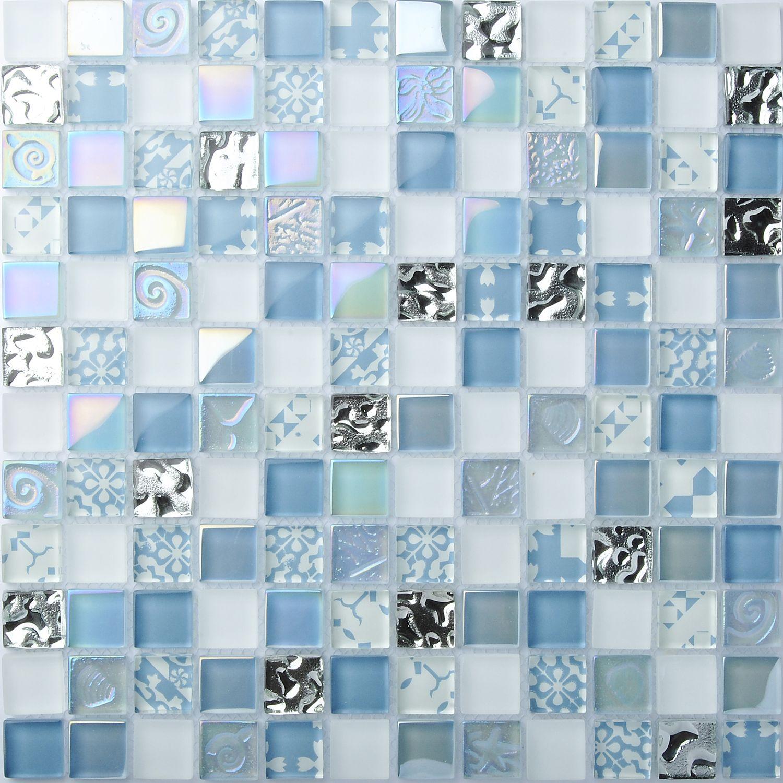 TST Crystal Glass Tiles Blue Glass Mosaic Tile Iridescent Mosaic ...